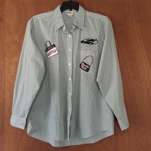 Womens Shirt XL Long sleeve Car Stripes Rockn roll